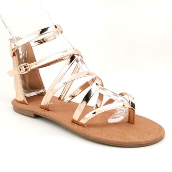 Women's Shiny Rosegold Sandal with Back Zipper