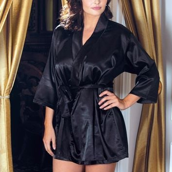 Satin 3/4 Sleeve Robe With Matching Sash (6X,Black)