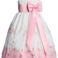 White & Pink Floral Embroidery Organza Overlay Spring Dress with Taffeta Trim (Girls 6 months - Size 7)