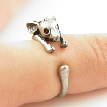 Animal Wrap Ring - Deer - White Bronze - Adjustable Ring - The Perfect Stocking Stuffer