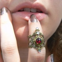garnet midi ring,gothic midi ring,vampire knuckle ring,witch claw
