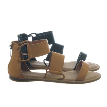 Happiness72 by Bamboo Open Toe Flat Sandal w Cage Triple Strap Connected By Pipe Strap