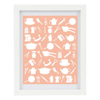 Kitchen Utensils, Kitchen Art, Kitchen Print, Silhouettes, Customise Your Colour, Peach, Modern Home Decor, 8 x 10 Digital Illustration