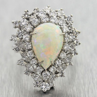 Vintage Estate 14k Gold 6.92cttw Fire Opal and Diamond EGL Cocktail Ring $4890