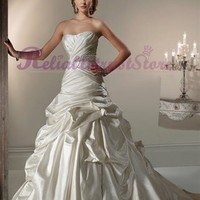 White A-line Strapless Satin Beach Wedding Dress-ReliableTrustStore - Reliable Store Online,High Quality Dresses,Wedding Apparel,Cosplay And More Products With Low Prices