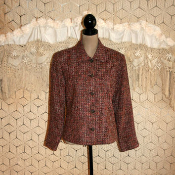 Vintage Tweed Jacket Nubby Tweed Blazer Jacket Fall Women Jackets Vintage Jackets Brown Red Winter Jacket Medium Large Womens Clothing