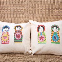 Babushka Russian Dolls cushion cover, set of two decorative pillows for kids, colorful babushka print