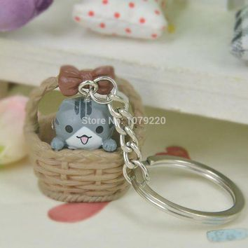 ac spbest Cute Basket Pussycat Cat Resin Keyring Jewelry Women Charm Key Bag Chain Christmas Mother's Day Lover Girl Gift