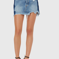 Hidden Two-Tone Denim Skirt