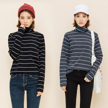 Vintage Styled Striped Turtleneck Shirt