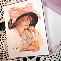 Vintage Girl Mini Notes with Matching Custom Made Envelopes, Mini Note, Custom Envelope