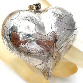Huge Sterling Silver Puffed Heart Pendant Vintage