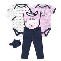 Cutie Pie Animal Bodysuit Set - Baby Girl, Size:
