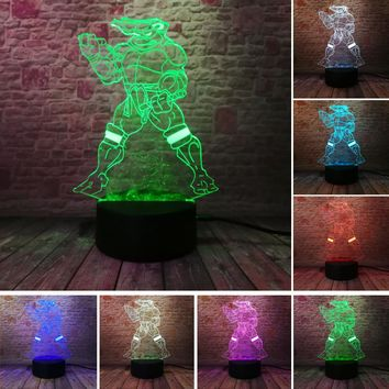 Mutant Ninja Turtles 7 Colors Gradient Dimming USB Touch Visual Nightlight Illusion Bedroom Home Decor Child Kids Xmas Toy Gifts