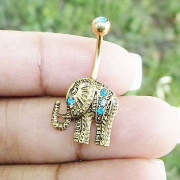 Elephant with Crystal turquoise rhinestones Belly Button Ring, navel ring 14 gauge