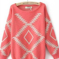 L 073002 Thick loose round neck geometry sweater  from cassie2013