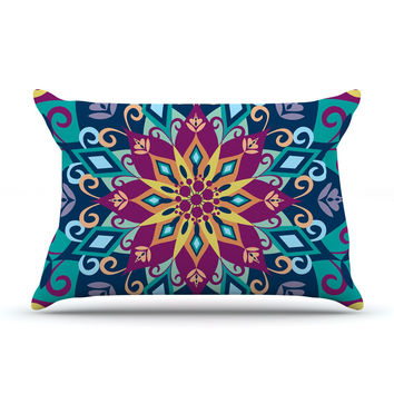 "Amanda Lane ""Blooming Mandala"" Blue Purple Pillow Case"