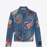 "SAINT LAURENT ORIGINAL USED VINTAGE 80S BLUE ""LOVE"" EMBROIDERY JEAN JACKET 