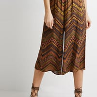 Abstract Chevron Print Culottes