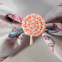 Ice Cream Lollipop Hair Bow, Cute, Kitsch, Kawaii, Fairy Kei, Icecream, Hairbow, Decora, Sweet Lolita, Swirl, Marshmallow, Hearts, Pastel