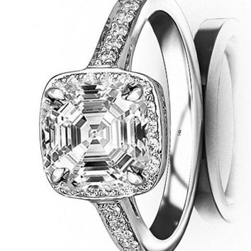d.2.06 Ctw 14K White Gold Classic Square Halo GIA Certified Designer Diamond Engagement Ring Asscher Shape (1.81 Ct I Color VS1 Clarity Center Stone)