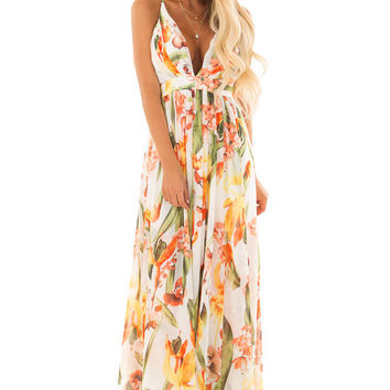 Off White Tropical Print Open Back Maxi Dress