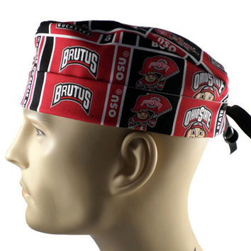 Men's Adjustable Cuffed or Un-Cuffed Surgical Scrub Hat Cap in Ohio State Buckeyes