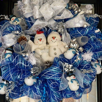 25% Off-2 Day Sale XL Whimsical Christmas Wreath, Snowman Wreath, Christmas Decoration, Fast Shipping