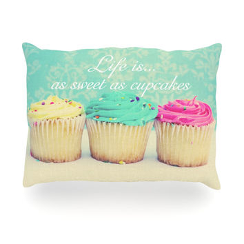 "Beth Engel ""Life Is As Sweet As Cupcakes"" Green Oblong Pillow"