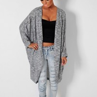 Dynamic Grey Sparkle Knit Supersoft Slouch Shrug Cardigan | Pink Boutique