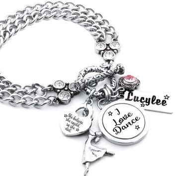 Personalized I love Dance Charm Bracelet