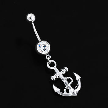 New Charming Dangle Crystal Navel Belly Ring Bling Barbell Button Ring Piercing Body Jewelry = 4804941444