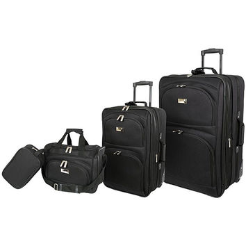 Geoffrey Beene Black 4-piece Westchester Collection Luggage | Overstock.com Shopping - The Best Deals on Four-piece Sets