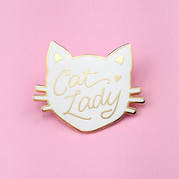 Cat Lady Pin - White