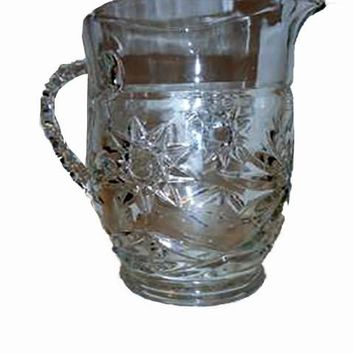 Small Pressed Glass Pitcher - Star & Starburst Pattern