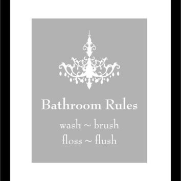 Chandelier Silhouette Bathroom Rules - Wash Your Hands - Brush Your Teeth - 8x10 Art Poster Print