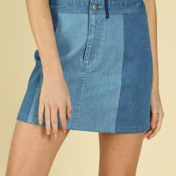 Two Toned Denim Skirt