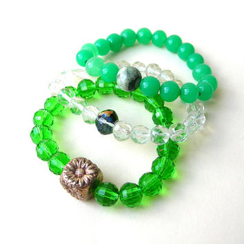 Green Boho Bracelets, Beaded Stretch Bracelets, Stackable Bead Bracelet Lot