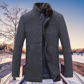 New arrival Winter Coat Male Fur Collar Men Casual Wool blazer Single Breasted Thick Fashion high quality size M L XL 2XL 3XL