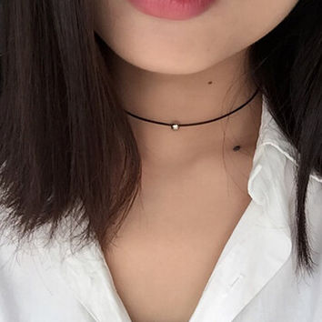 Torques style Pure black braided leather cord Choker necklace