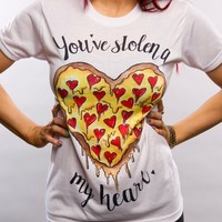Womens High-quality Cotton Pizza Print T-Shirts Top + Free Black Tattoo Choker Gift-85