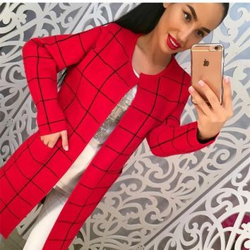 Red Plaid Pockets Long Sleeve Fashion Cardigan Sweater