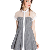 Black and White Plaid Mesh Sleeve Dress