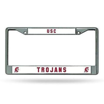 USC Trojans NCAA Chrome Metal License Plate Frame