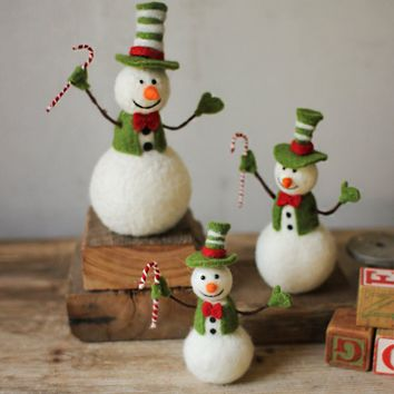 Felt Snowmen Holding Candy Canes (Set of 3)