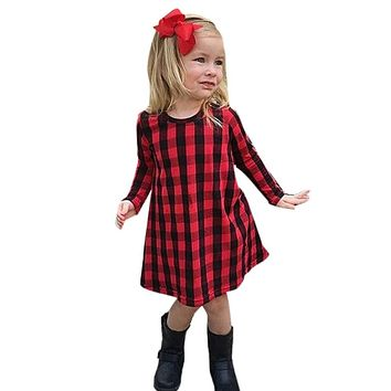 Toddler Infant Kids Baby Girl Plaid Print Dress Outfits Clothes Dress