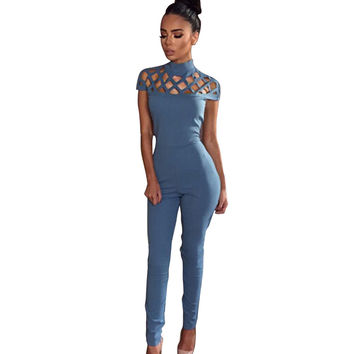 Blue Red Black Bodysuit Women Hollow Out Bandage Party Rompers Playsuits 2016 Fashion Sexy Long Jumpsuits Turtleneck Rompers New