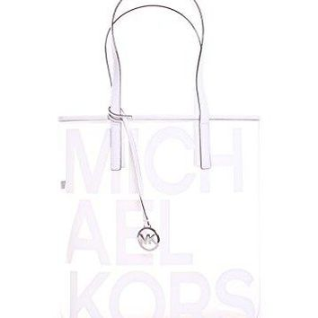 Michael Michael Kors Hayley Clear Large North South Tote Bag in Optic White