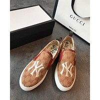 GUCCI Embroidery NY GG Canvas Loafers Casual Shoes