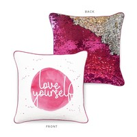 LOVE YOURSELF Mermaid Pillow w/ Fuchsia & Silver Sequins